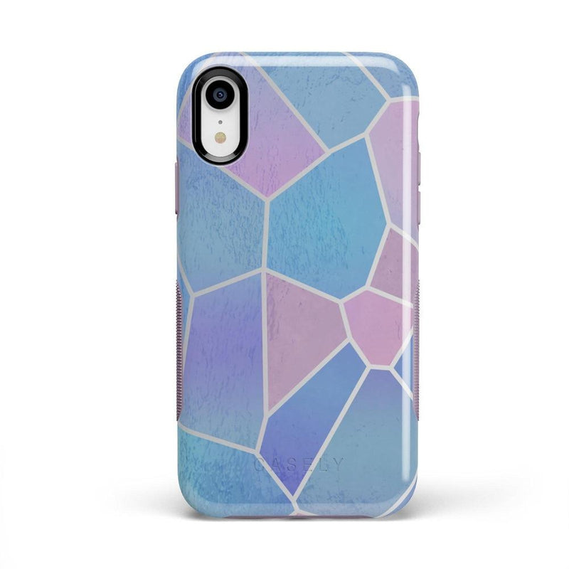 Holographic Metallic Stained Glass Marble Case iPhone Case Get.Casely Bold iPhone XR