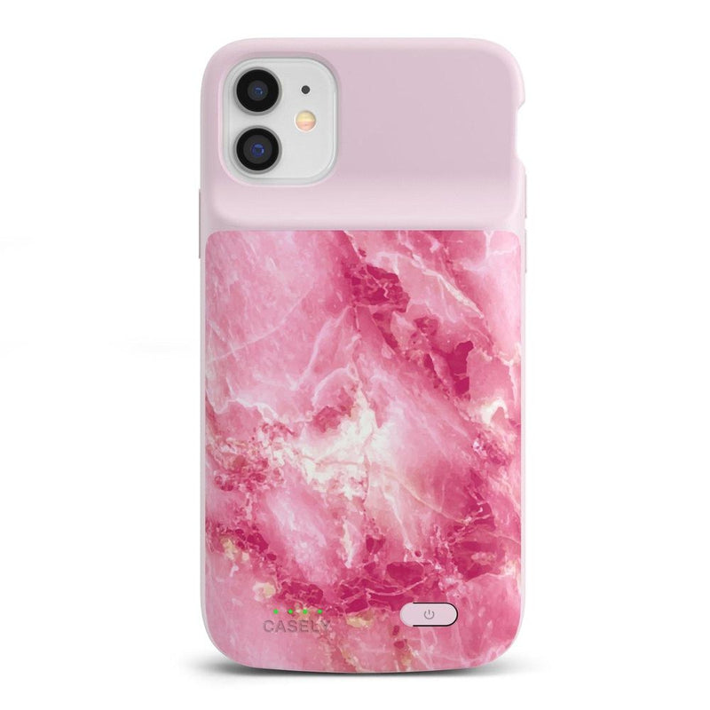 Hot Pink Marble Battery-Powered Charging Case iPhone Case get.casely Power 2.0 iPhone 11
