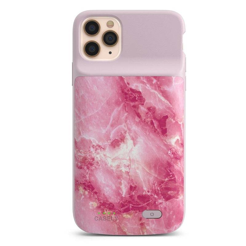 Hot Pink Marble Battery-Powered Charging Case iPhone Case get.casely Power 2.0 iPhone 11 Pro Max