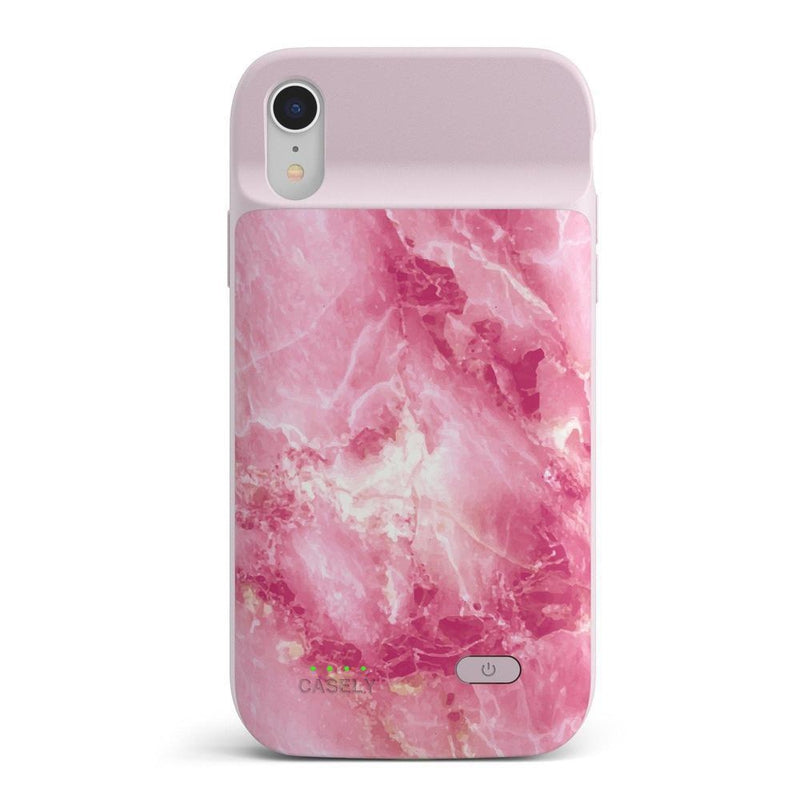Hot Pink Marble Battery-Powered Charging Case iPhone Case get.casely Power 2.0 iPhone XR