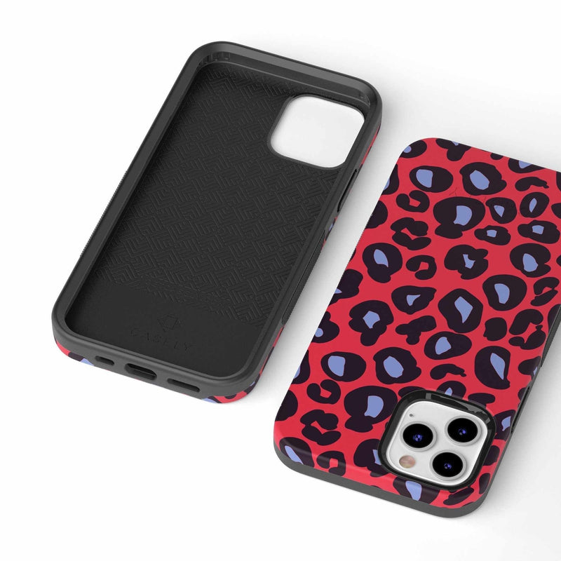 Into the Wild | Red & Blue Leopard Print Case iPhone Case get.casely