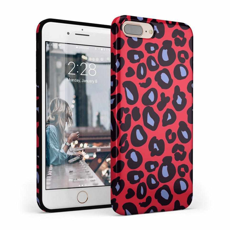 Into the Wild | Red & Blue Leopard Print Case iPhone Case Get.Casely Classic iPhone 8 Plus