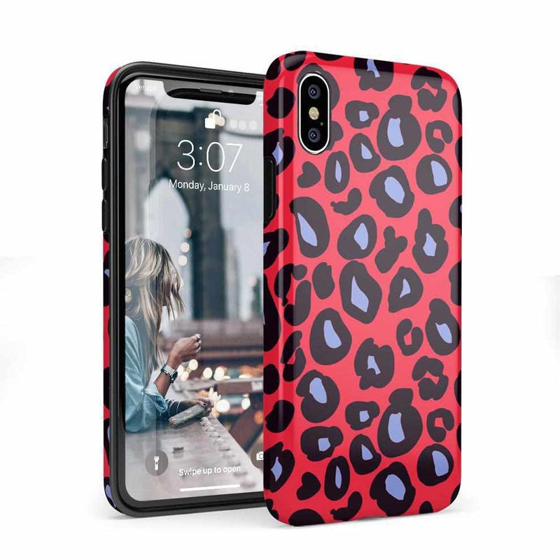 Into the Wild | Red & Blue Leopard Print Case iPhone Case Get.Casely Classic iPhone 8