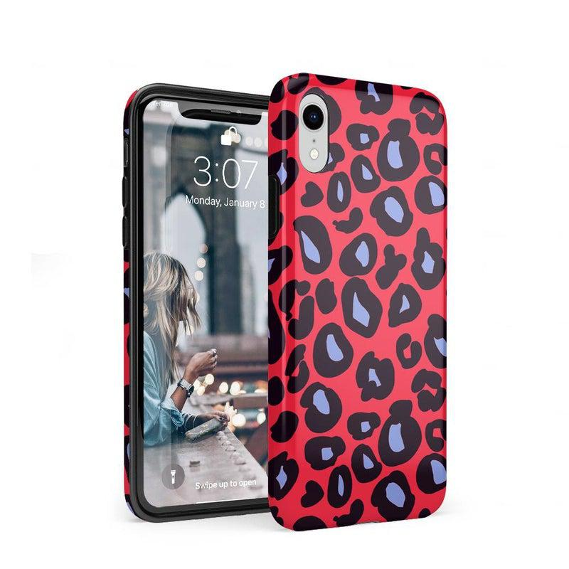 Into the Wild | Red & Blue Leopard Print Case iPhone Case Get.Casely Classic iPhone XR