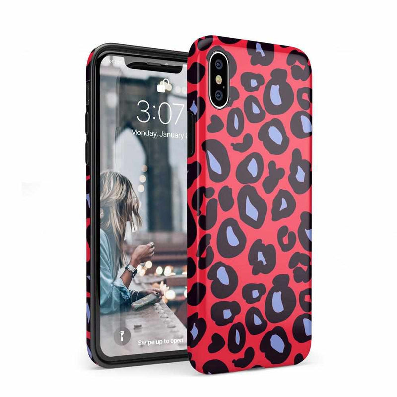 Into the Wild | Red & Blue Leopard Print Case iPhone Case Get.Casely Classic iPhone XS Max