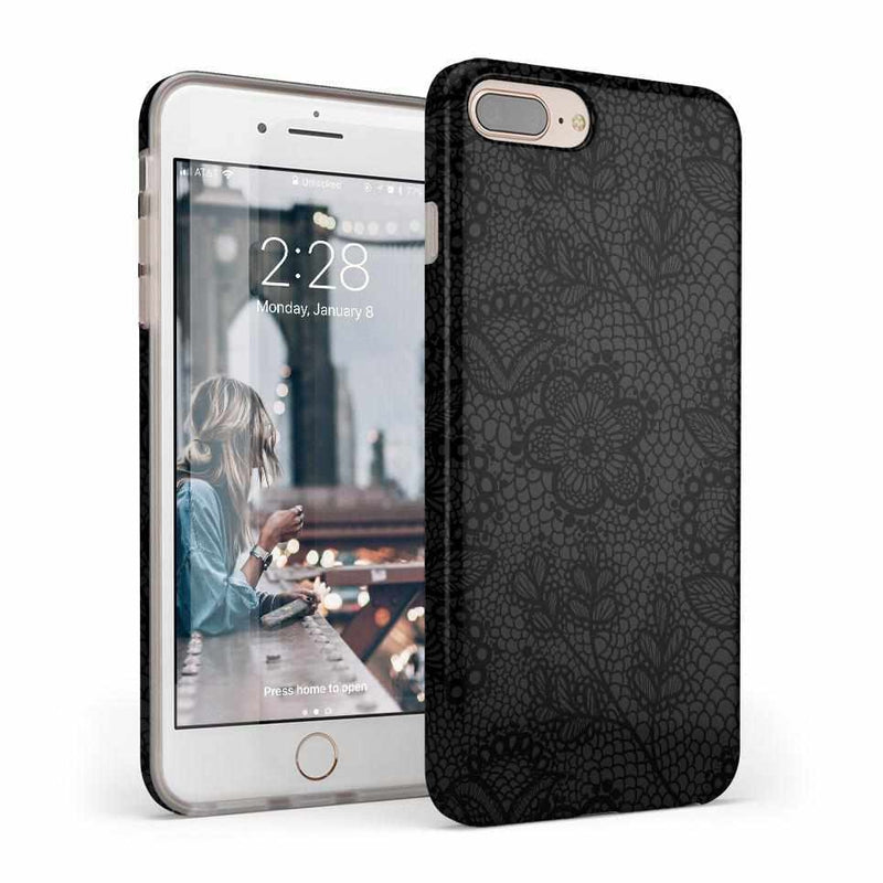 Lace Me Up Black Lace Case iPhone Case get.casely Classic iPhone 8 Plus