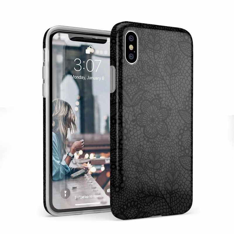 Lace Me Up Black Lace Case iPhone Case get.casely Classic iPhone X / XS