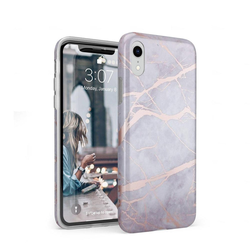 Lavender Gray & Rose Gold Marble Case iPhone Case Get.Casely Classic iPhone XR