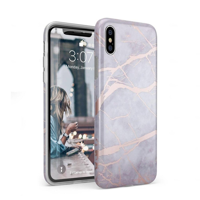 Lavender Gray & Rose Gold Marble Case iPhone Case Get.Casely Classic iPhone XS Max