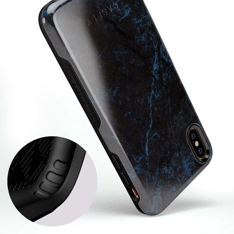 Midnight Marble Black & Navy Glitter Case iPhone Case Get.Casely