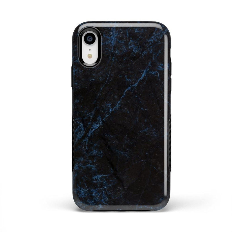 Midnight Marble Black & Navy Glitter Case iPhone Case Get.Casely Bold iPhone XR