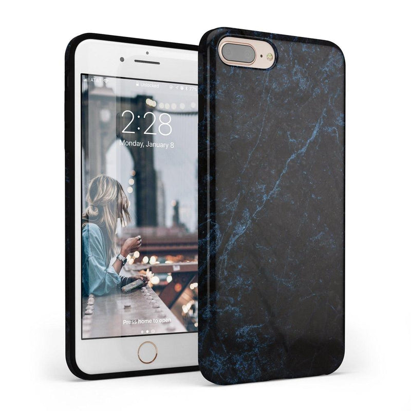 Midnight Marble Black & Navy Glitter Case iPhone Case Get.Casely Classic iPhone 6/6s Plus