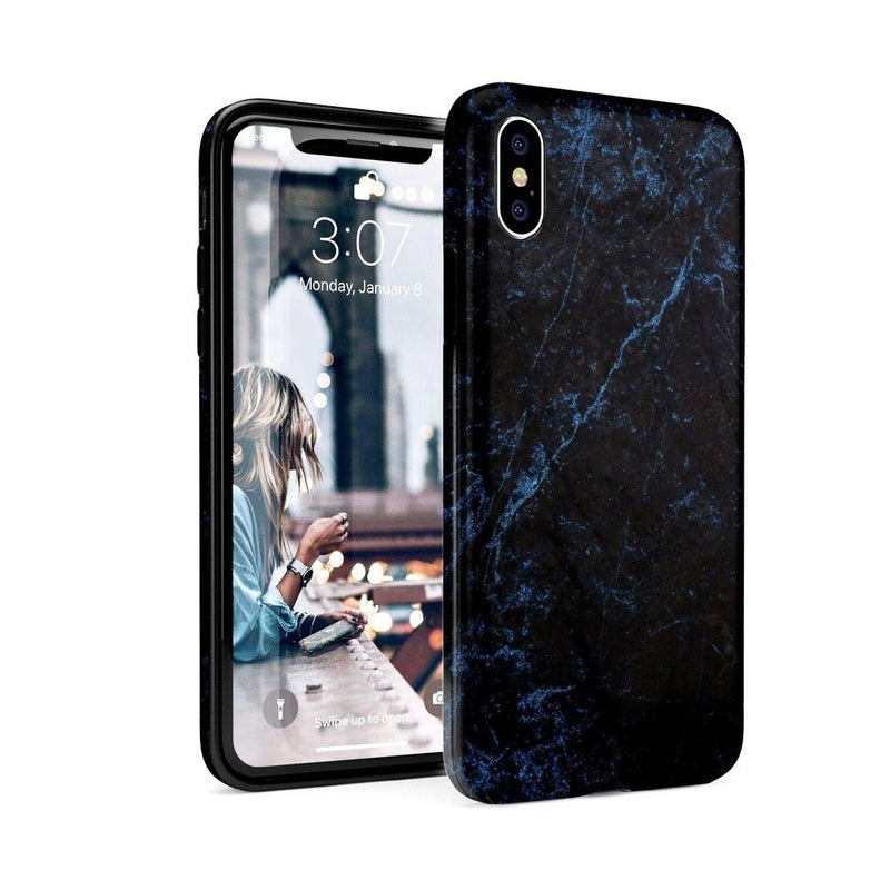 Midnight Marble Black & Navy Glitter Case iPhone Case Get.Casely Classic iPhone X / XS