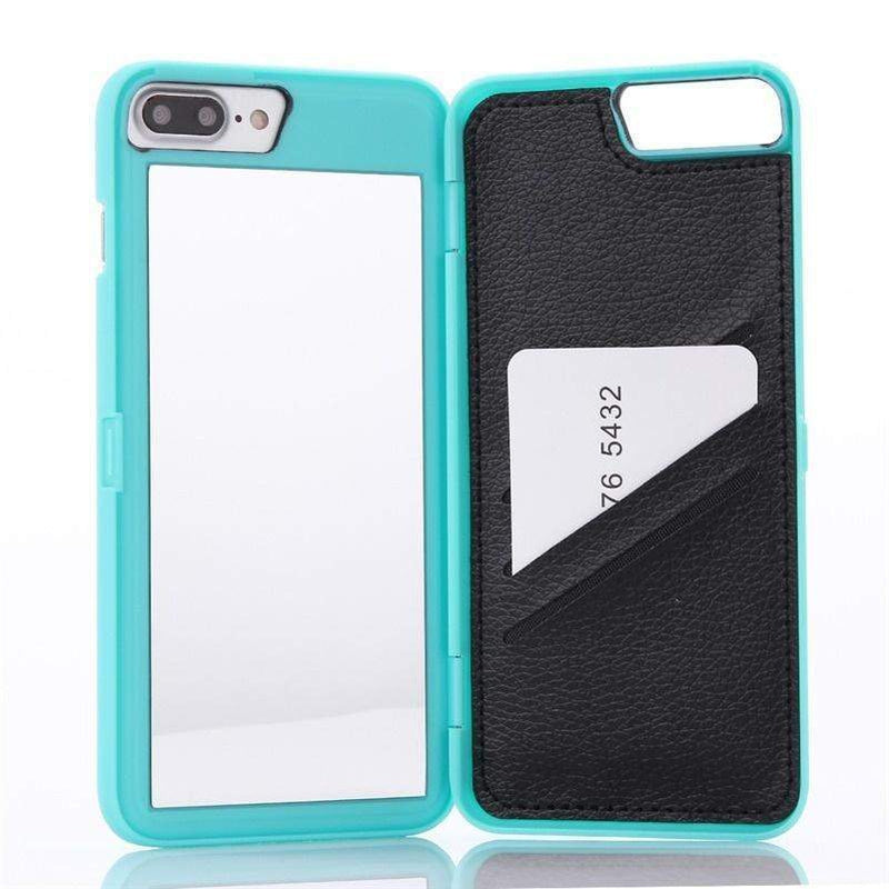 Mint Mirror + Wallet Flip Case iPhone Case get.casely iPhone 7 Plus