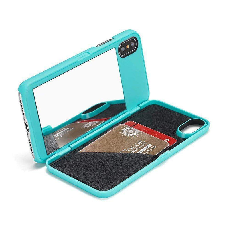 Mint Mirror + Wallet Flip Case iPhone Case get.casely iPhone X / XS