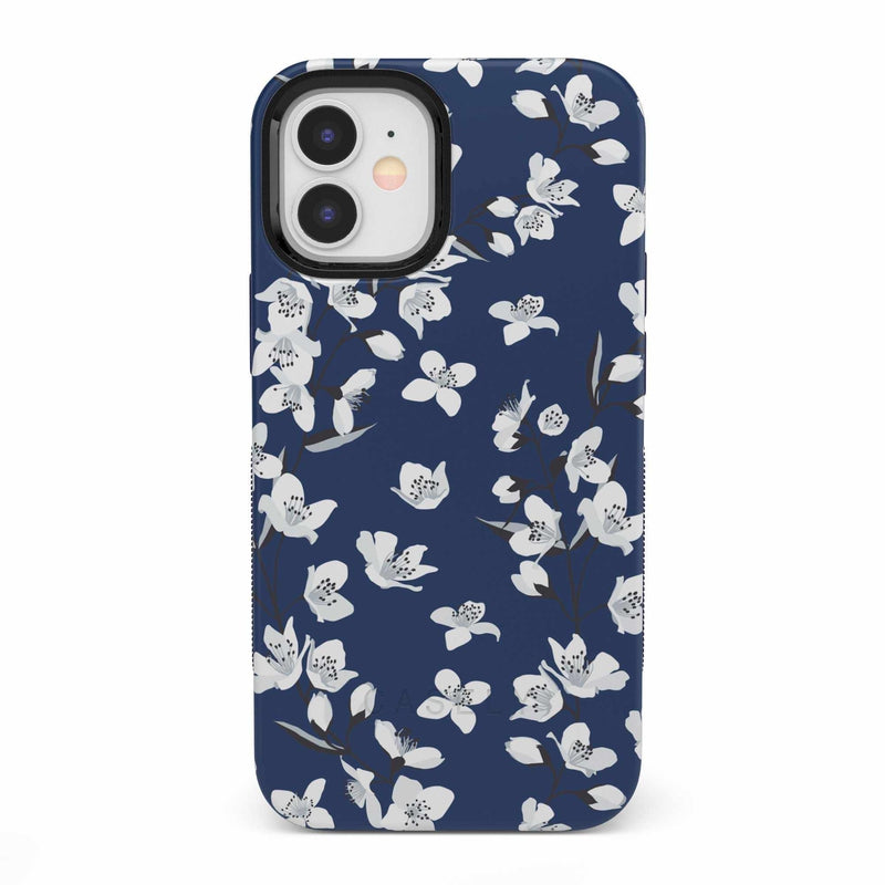 Navy Cherry Blossom Floral Case iPhone Case get.casely Bold iPhone 12 Mini