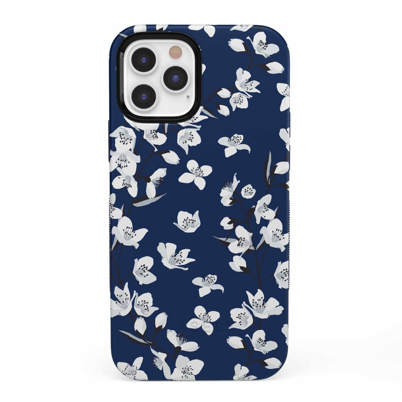 Navy Cherry Blossom Floral Case iPhone Case get.casely Bold iPhone 12 Pro