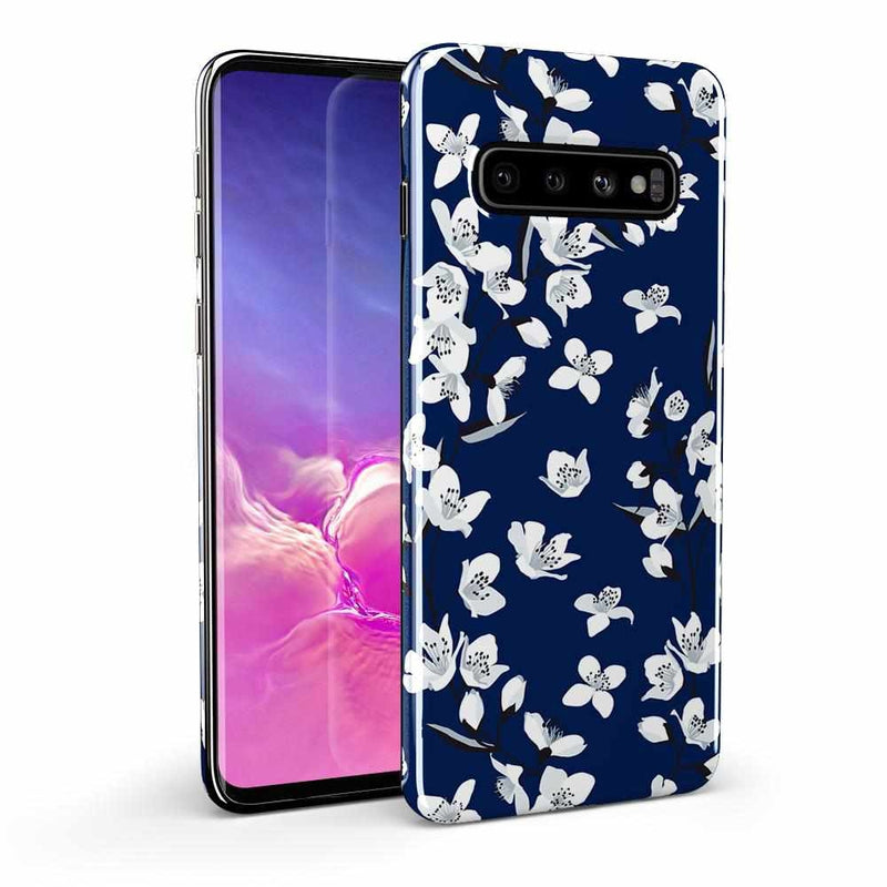 Navy Cherry Blossom Floral Case iPhone Case Get.Casely Classic Galaxy S10