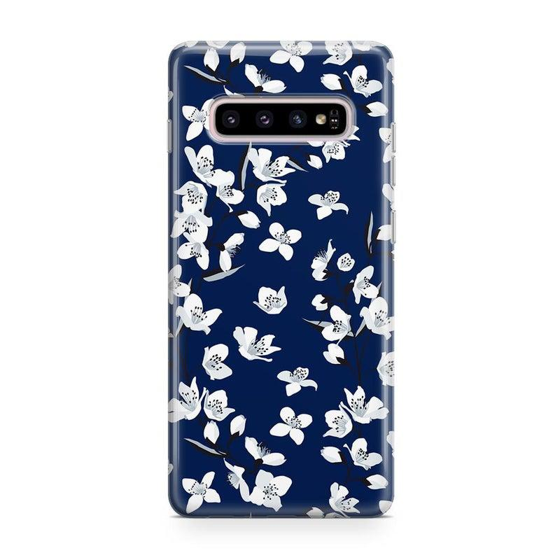 Navy Cherry Blossom Floral Case iPhone Case Get.Casely Classic Galaxy S10 Plus