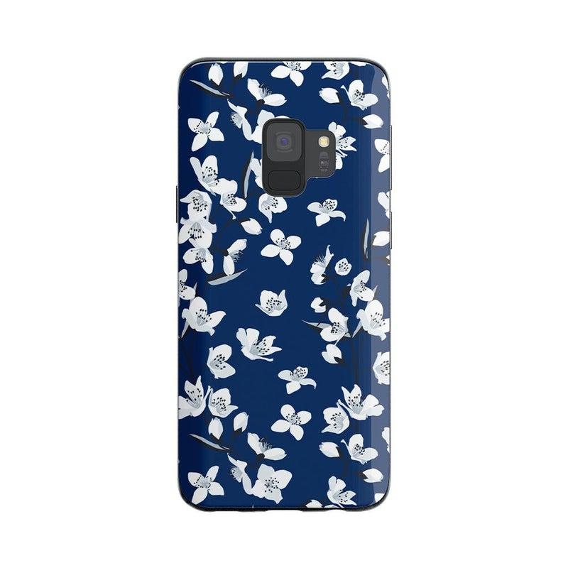 Navy Cherry Blossom Floral Case iPhone Case Get.Casely Classic Galaxy S9