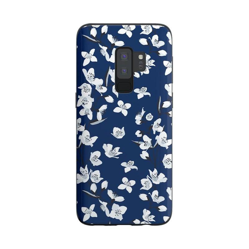 Navy Cherry Blossom Floral Case iPhone Case Get.Casely Classic Galaxy S9 Plus
