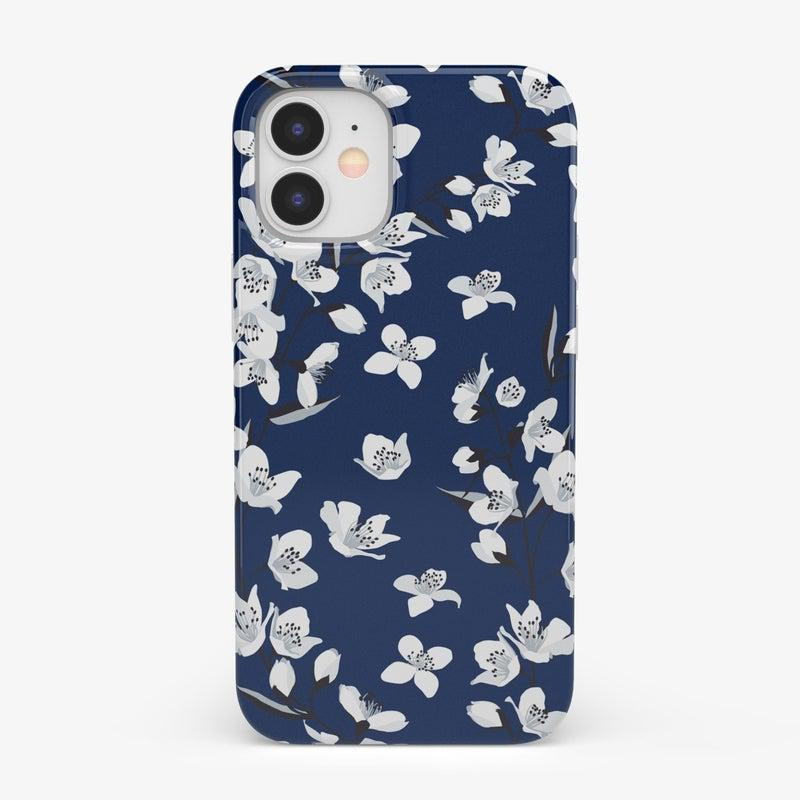 Navy Cherry Blossom Floral Case iPhone Case get.casely Classic iPhone 12 Mini