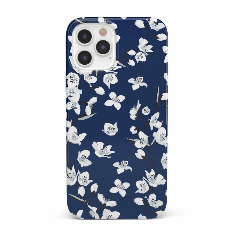 Navy Cherry Blossom Floral Case iPhone Case get.casely Classic iPhone 12 Pro