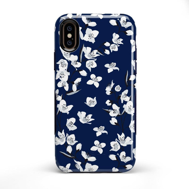 Navy Flower Power Floral Case iPhone Case Get.Casely Bold iPhone X / XS