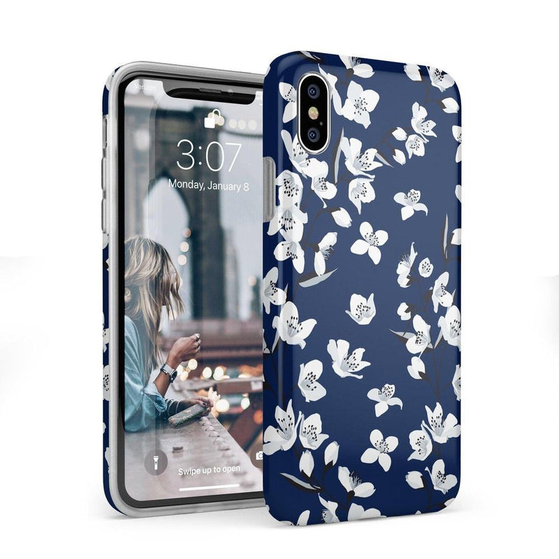 Navy Flower Power Floral Case iPhone Case Get.Casely Classic iPhone X / XS