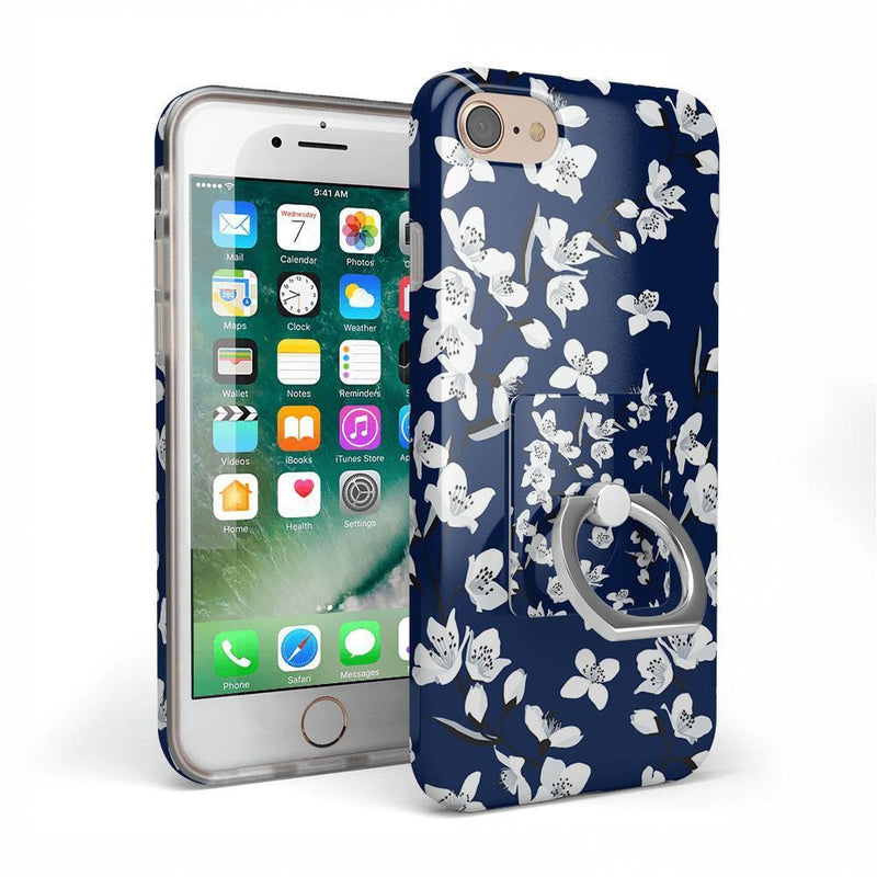 Navy Flower Power Floral Phone Ring Phone Ring Get.Casely