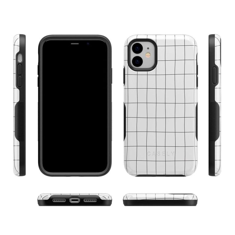Off the Grid | White & Black Lined Case iPhone Case get.casely
