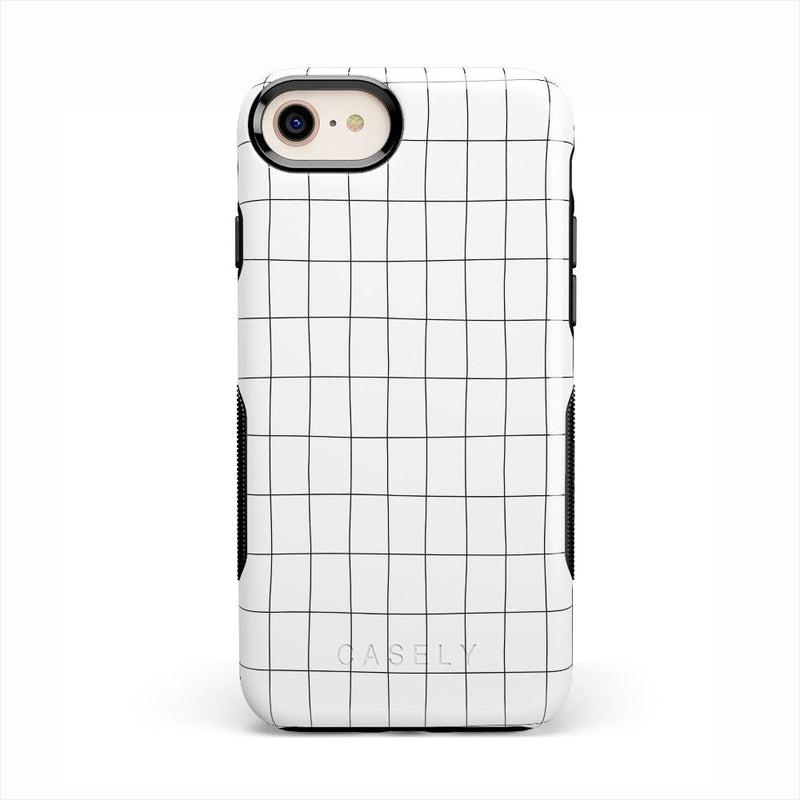Off the Grid | White & Black Lined Case iPhone Case get.casely Bold iPhone 8