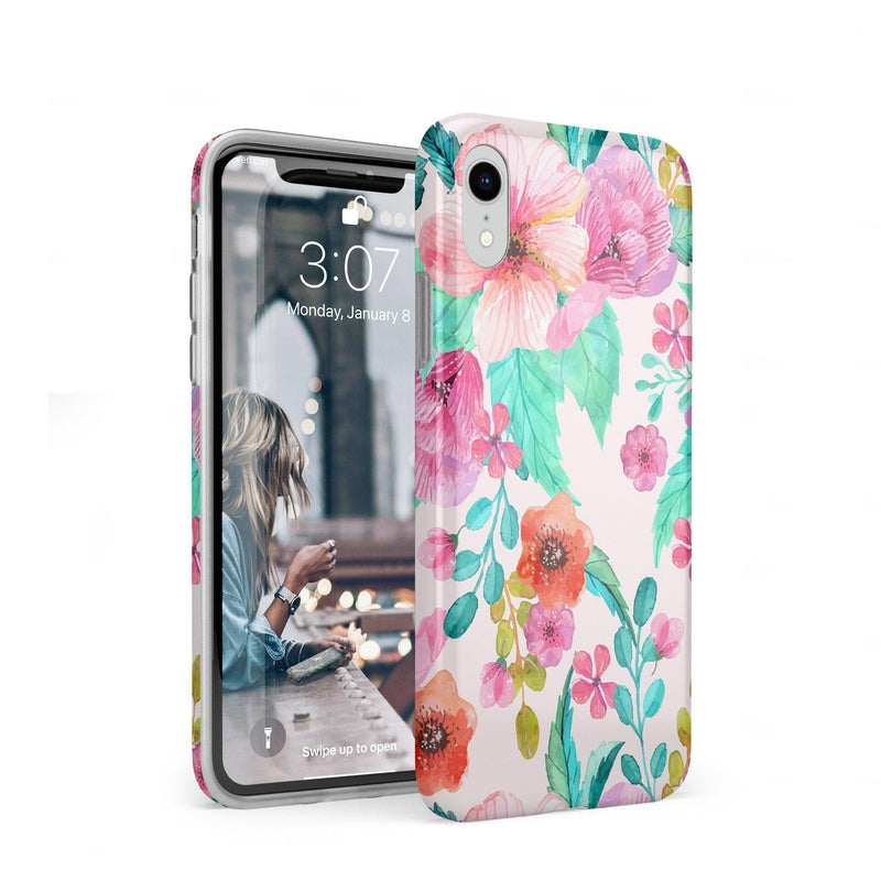Out And About | Light Pink Floral Case iPhone Case get.casely Classic iPhone XR
