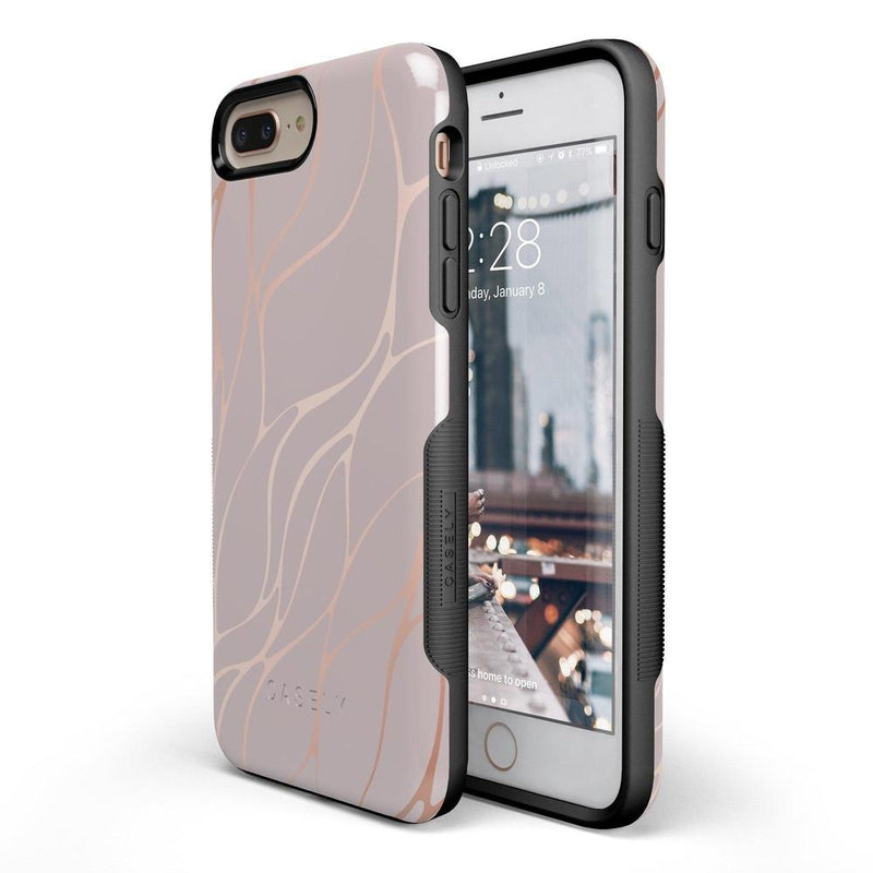 Pink and Gold Metallic Waves Case iPhone Case get.casely