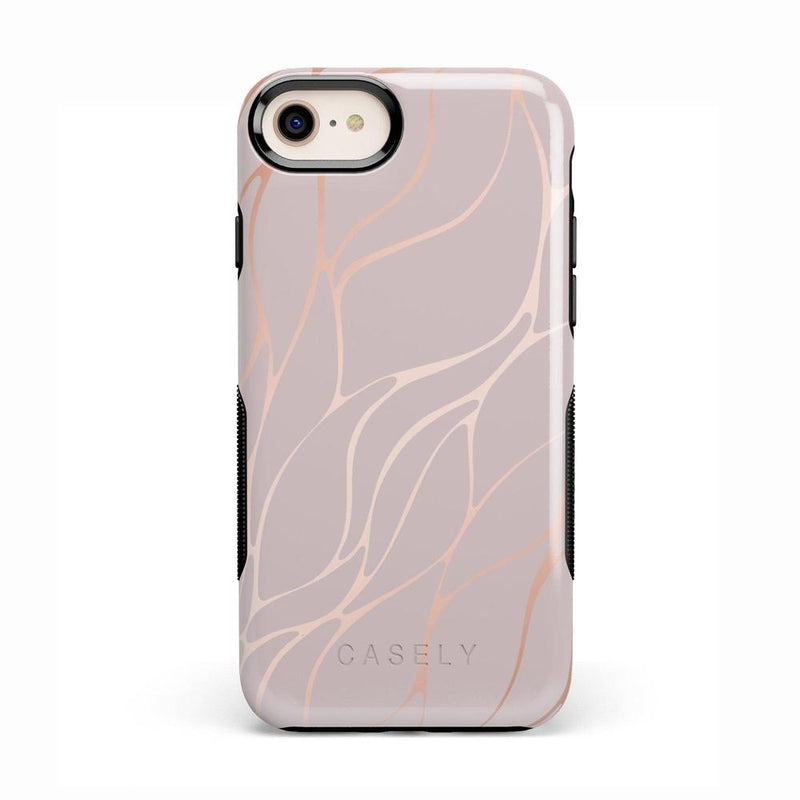 Pink and Gold Metallic Waves Case iPhone Case get.casely Bold iPhone 8