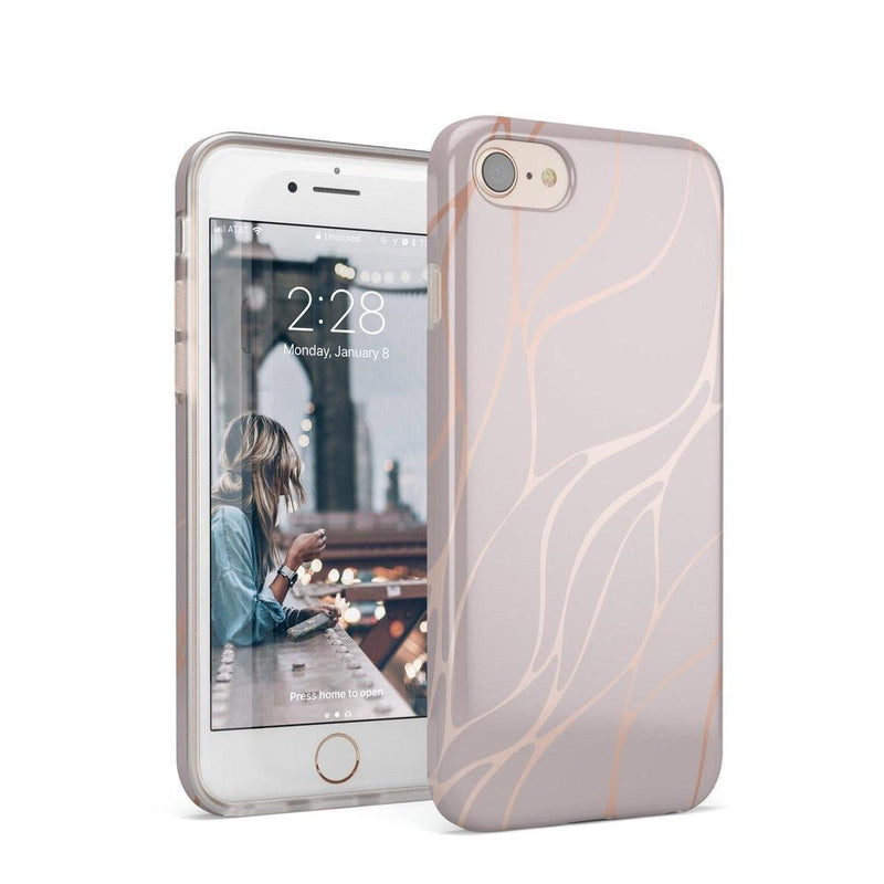 Pink and Gold Metallic Waves Case iPhone Case get.casely Classic iPhone 8