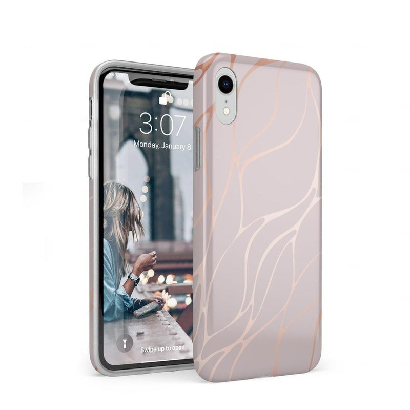 Pink and Gold Metallic Waves Case iPhone Case get.casely Classic iPhone XR