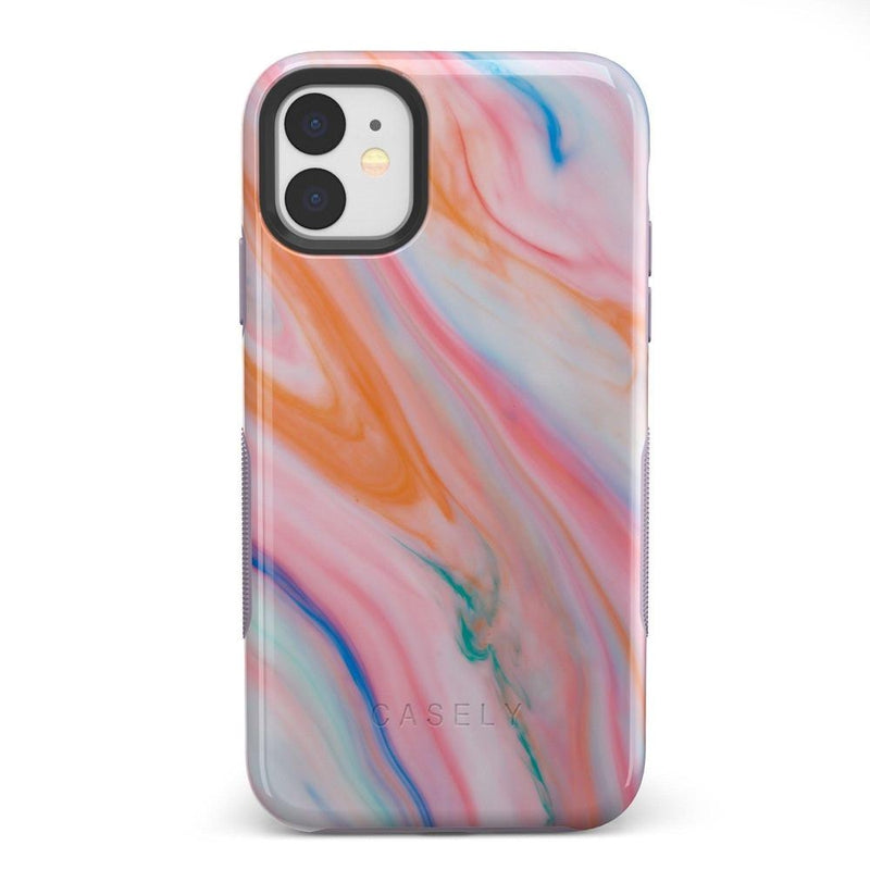 Rainbow Marble Swirl iPhone Case iPhone Case Get.Casely Bold iPhone 11