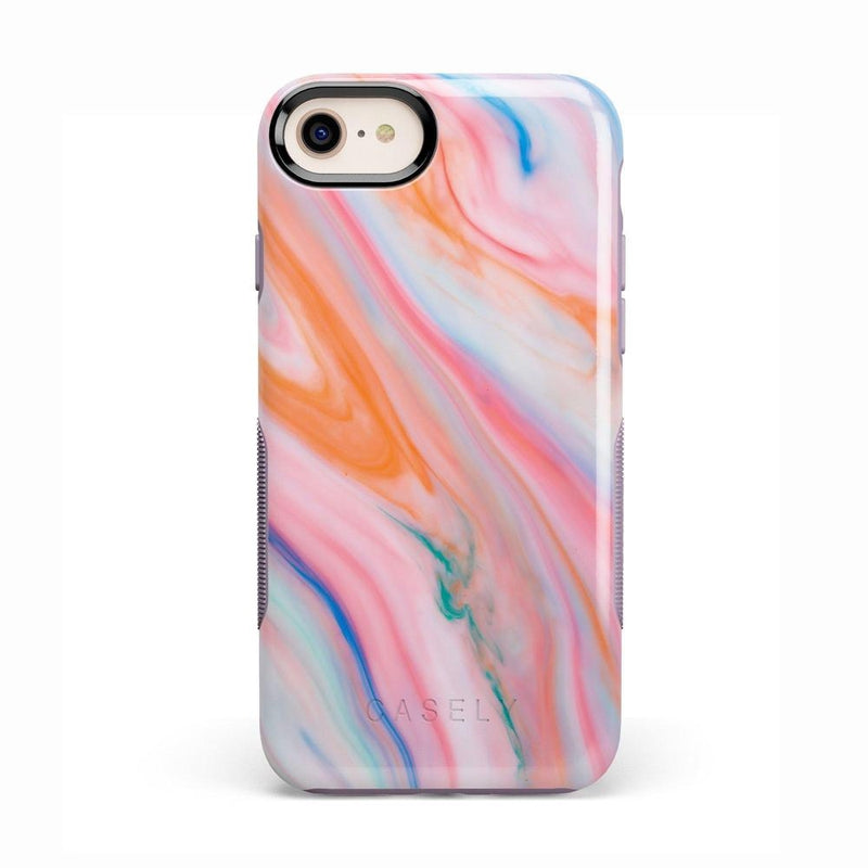 Rainbow Marble Swirl iPhone Case iPhone Case Get.Casely Bold iPhone 8