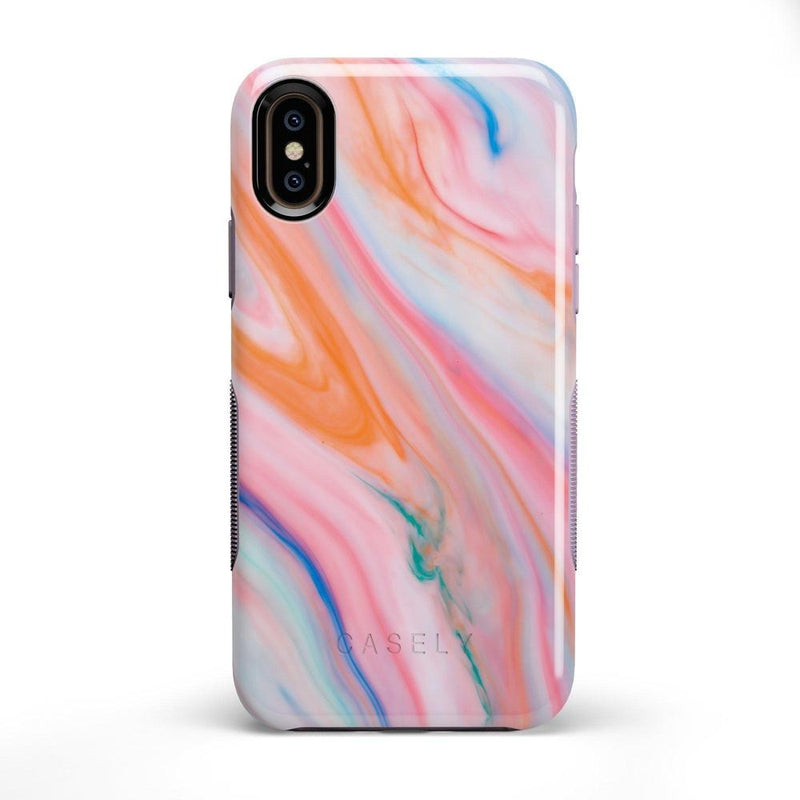 Rainbow Marble Swirl iPhone Case iPhone Case Get.Casely Bold iPhone X / XS