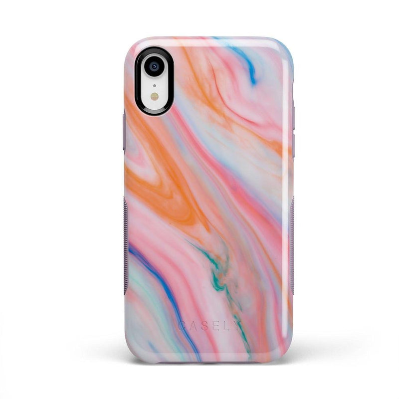Rainbow Marble Swirl iPhone Case iPhone Case Get.Casely Bold iPhone XR