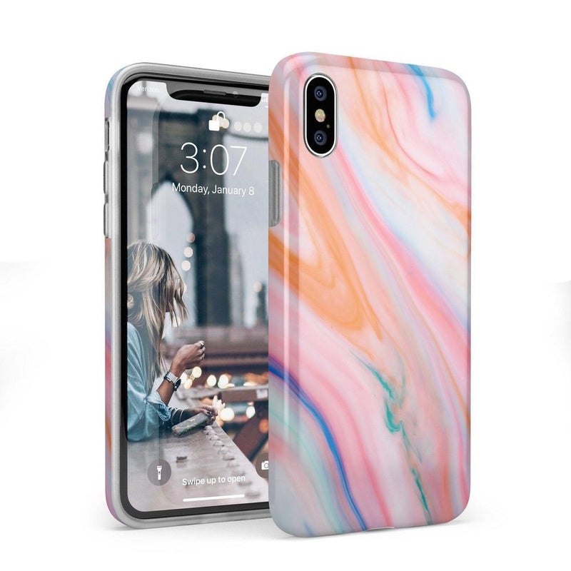 Rainbow Marble Swirl iPhone Case iPhone Case Get.Casely Classic iPhone X / XS