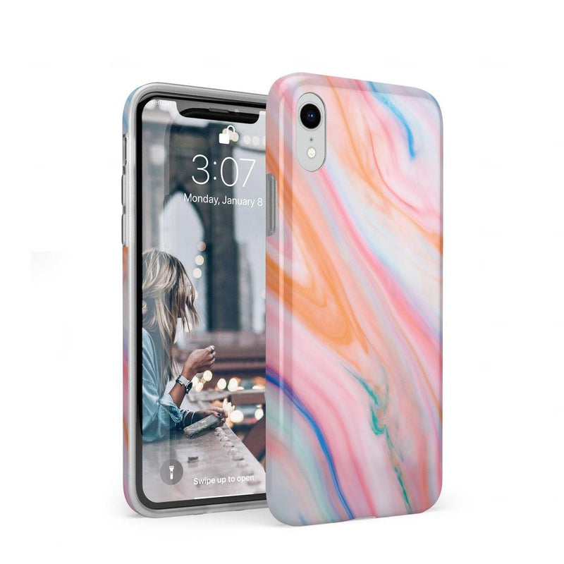 Rainbow Marble Swirl iPhone Case iPhone Case Get.Casely Classic iPhone XR