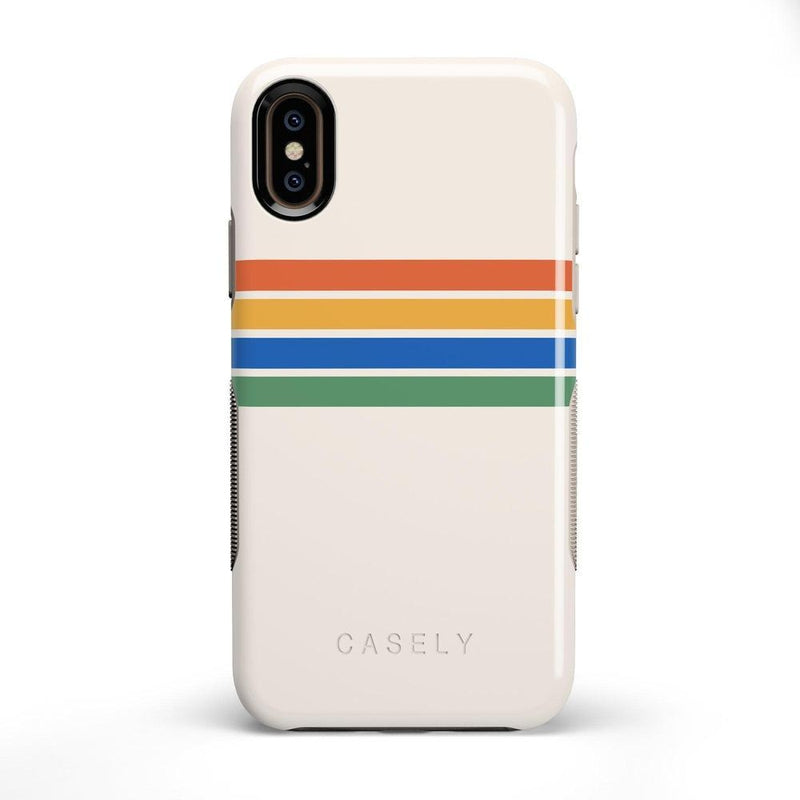 Rainbow Stripes Color Block Case iPhone Case Get.Casely Bold iPhone X / XS