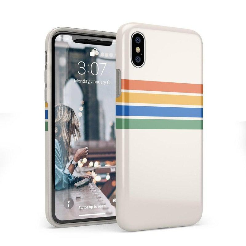Rainbow Stripes Color Block Case iPhone Case Get.Casely Classic iPhone X / XS