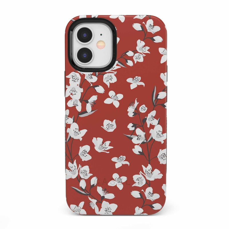 Red Cherry Blossom Floral Case iPhone Case get.casely Bold iPhone 12