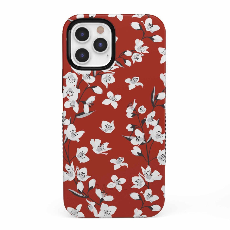 Red Cherry Blossom Floral Case iPhone Case get.casely Bold iPhone 12 Pro