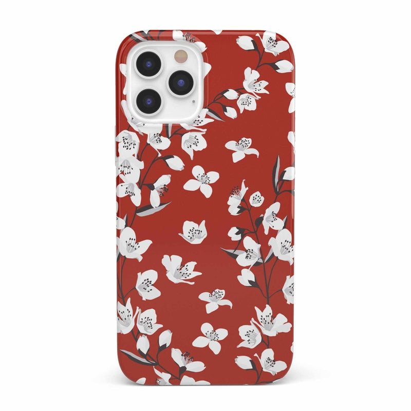 Red Cherry Blossom Floral Case iPhone Case get.casely Classic iPhone 12 Pro