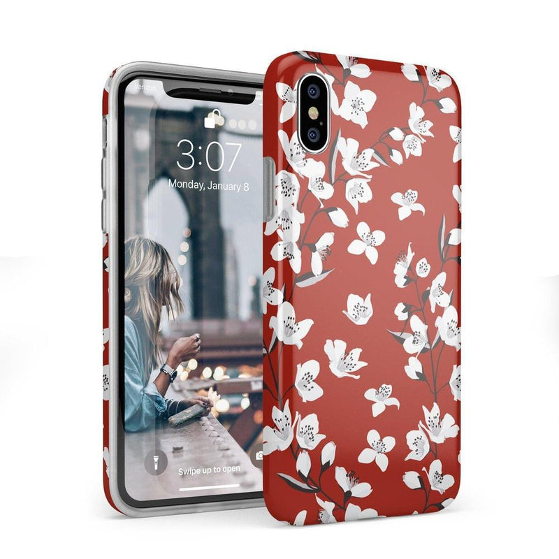 Red Flower Power Floral Case iPhone Case Get.Casely Classic iPhone X / XS