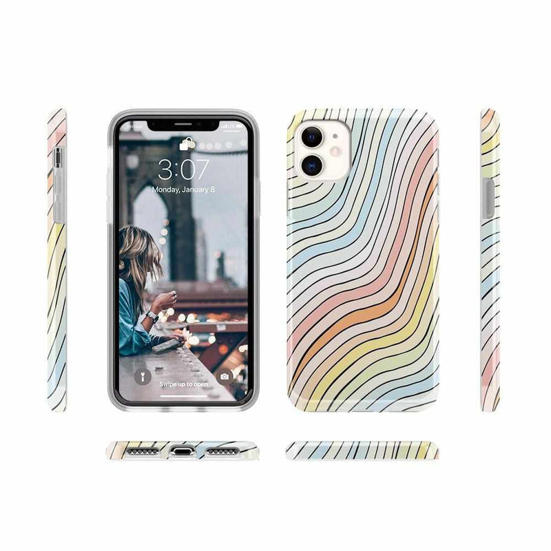 Ride The Wave | Pastel Rainbow Lined Case iPhone Case get.casely